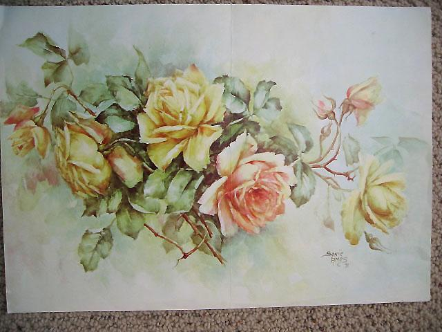 Roses Print by Sonia Ames China Painting Study of Roses