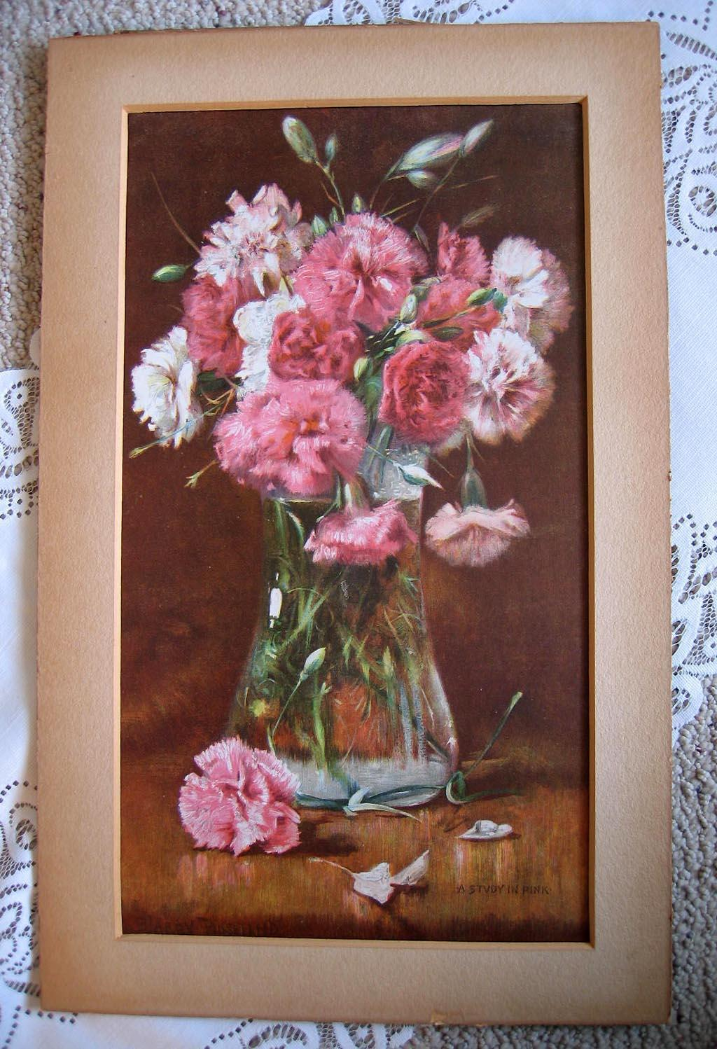 c1893 Flower Print A Study In Pink Carnations Harry Roseland Chromolithograph Floral Half Yard Long