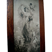 Antique Zatzka Cupid Lady Print Spring Fantasy c1895 Yard Long All Original