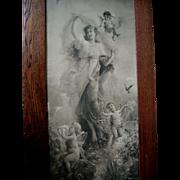 Lady Cupid s Spring Fantasy Antique c1895 Print Hans Zatzka Yard Long All Original