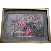 La France Pink Roses Print Antique Frans Mortelmanns