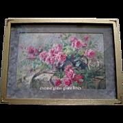 La France Pink Roses Print Antique Frans Mortelmanns