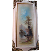 c1880 Oil Painting Landscape Water Lake Signed Victorian French Barbola Ribbon Roses Swags Yard Long