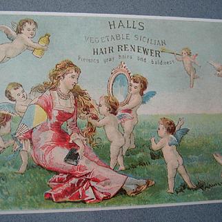 c1890s Halls Hair Renewer Print Advertising Trade Card Beauty Cosmetic Cupid Cherub Angel Lady Chromolithograph Quack Medicine Rabbit Bunny