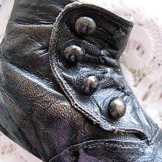 1890s Child High Button  Shoe Pair Shoes Victorian Antique Doll