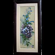 Catherine Klein Pansies Print Vintage Framed NF Condition Half Yard Long