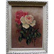 Cabbage Roses Oil Painting Signed after Paul de Longpre Gesso Frame Antique