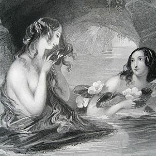 c1870 Lady Mermaid Engraving Print Long Hair Ocean Large Format
