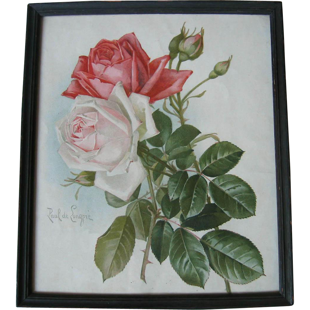 Antique Roses Print Paul de Longpre Bride and American Beauty Roses Victorian Chromolithograph