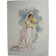 Four Maud Humphrey Bride Print s c1900 Antique