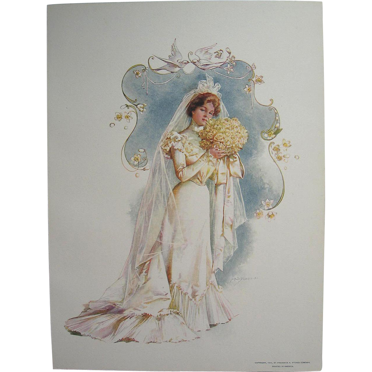 Four Maud Humphrey Bride Print s c1900 Antique