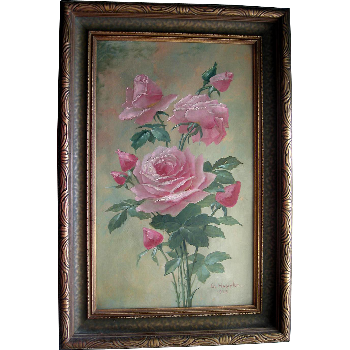 c1928 Pink Roses Oil Painting Signed Half Yard Long