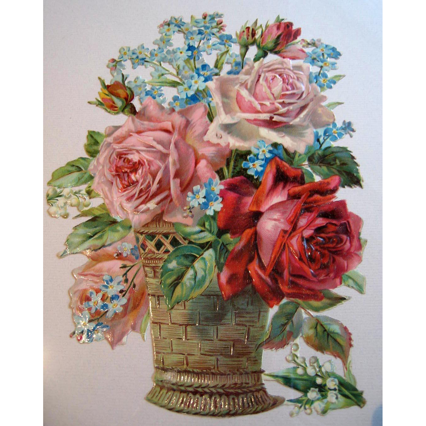 Large Antique Roses Die Cut Chromolithograph Print Victorian