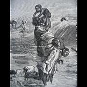 c1877 Negro Black Americana Print Smallbreed Family at the Sea Side Sol Eytinge