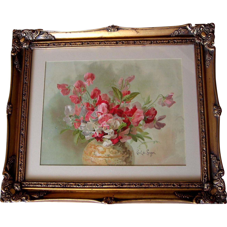 Antique Sweet Peas Print Paul de Longpre Chromolithograph Sweet Pea Flower