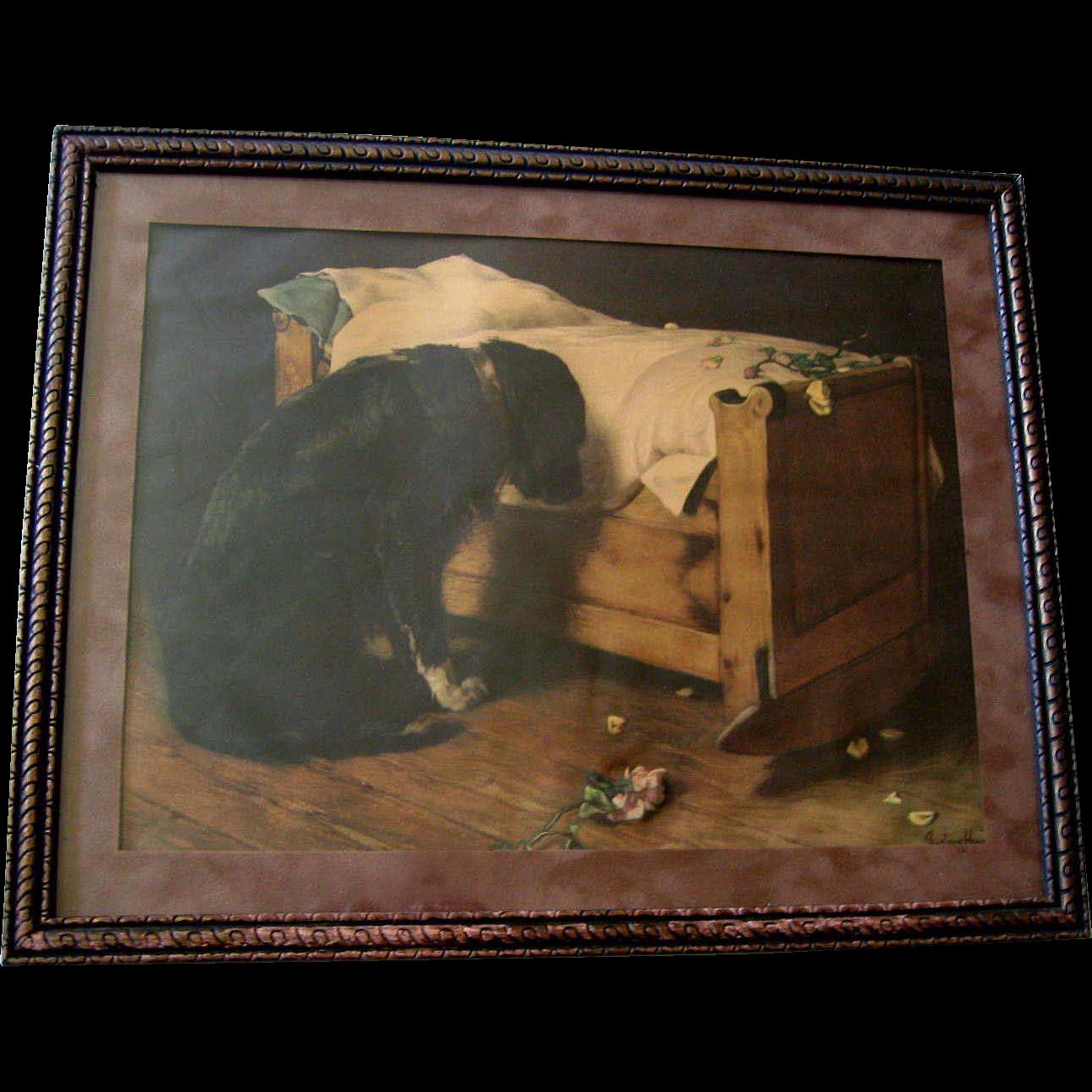 c1902 The Lost Playmate Print Deceased Child Black Labrador Dog Roses Cradle Crib