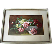 c1893 Roses Print Victor Dangon Chromolithograph Antique Victorian Original Frame