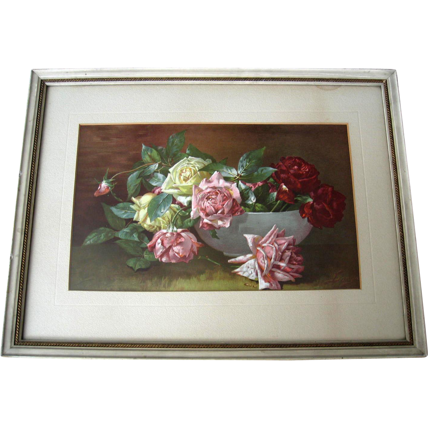 c1893 Roses Print Victor Dangon Chromolithograph Antique Victorian Original Frame