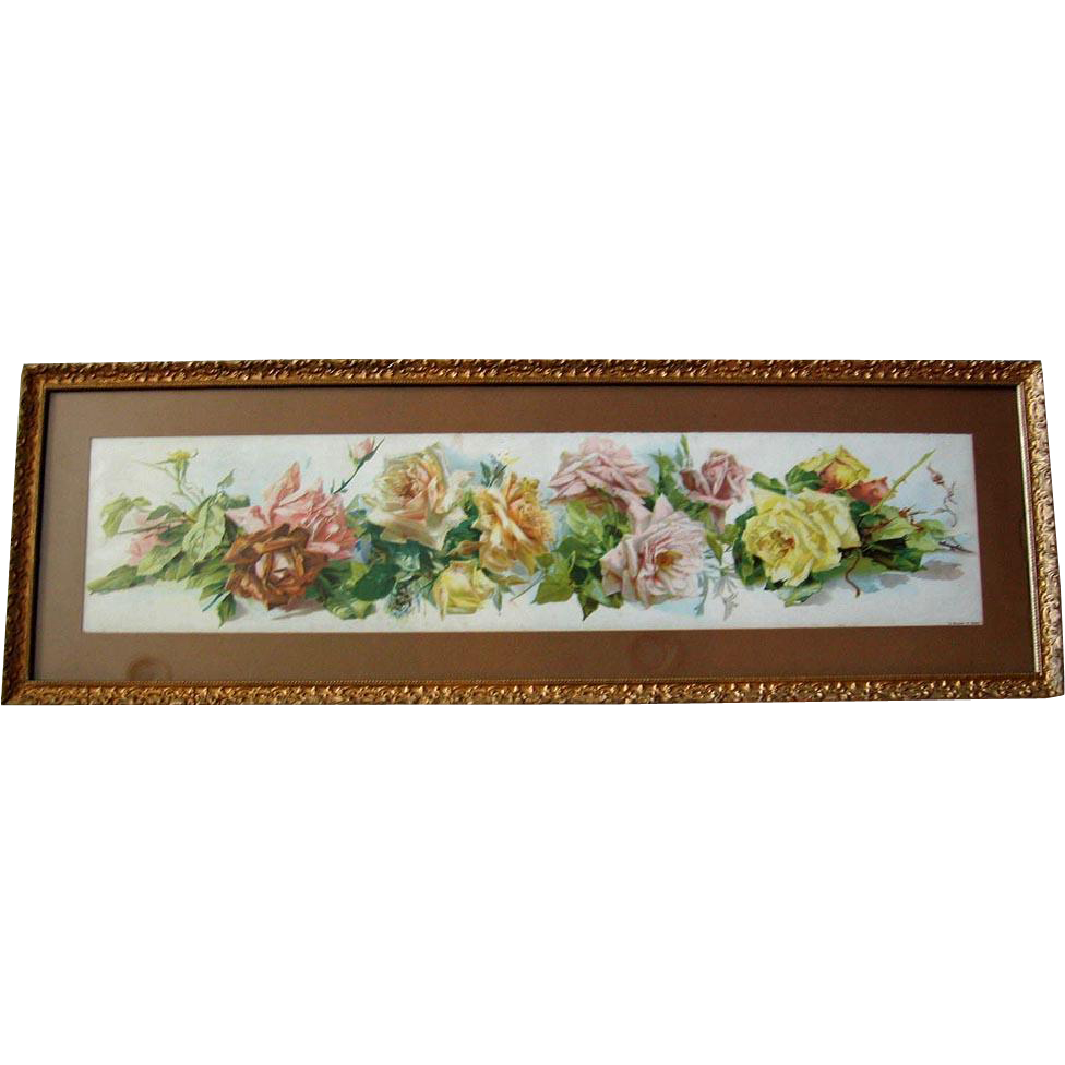c1895 Catherine Klein Cabbage Roses Yard Long Print A Shower of Roses Original Frame Chromolithograph
