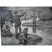 c1886 Trout Fishing in Montana Engraving Print Zogbaum Fish Creel Man Cave Art