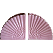 Pair of Pink Fan Vases Bookends Mid Century