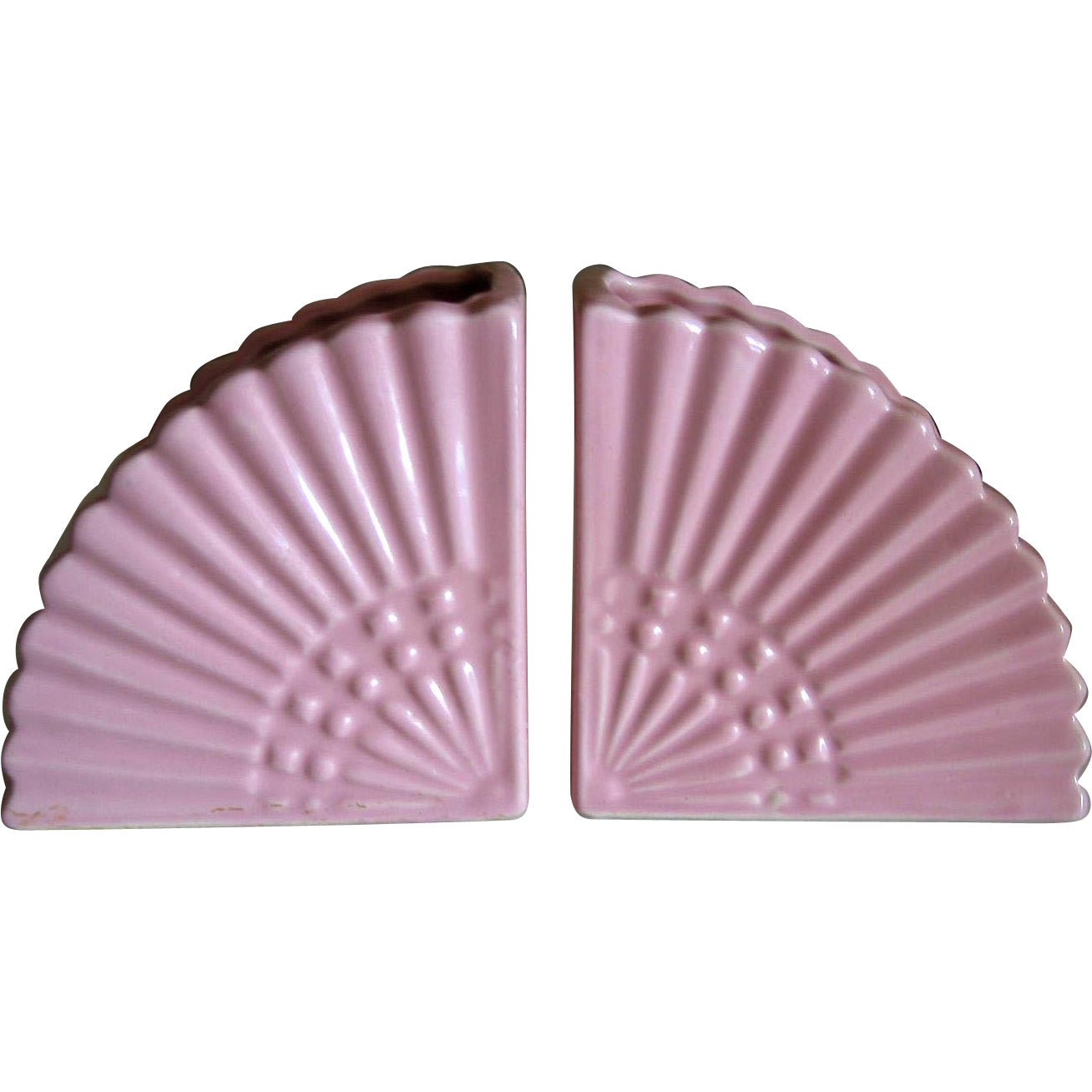 Pair of Pink Fan Vases or Bookends Mid Century