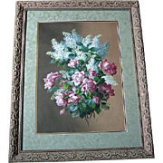 c1890 Raoul de Longpre Roses Lilacs Original Watercolor Painting Museum Quality Listed Paul de Longpre Brother