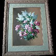 Antique Roses Painting Raoul de Longpre Listed Watercolor c1890s