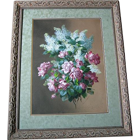 Antique Roses Painting Raoul de Longpre Listed Watercolor c1890s