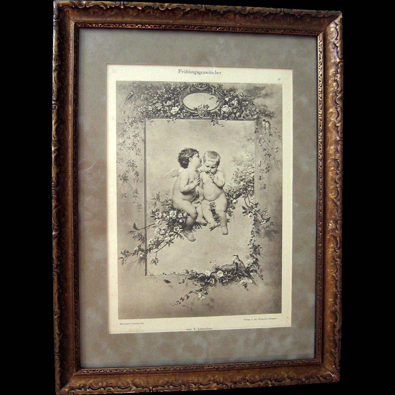 Antique Cupid Print Victorian Timoleon Marie Lobrichon Original Frame