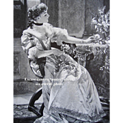 The First Rose Print c1880s Victorian Engraving by Czachorski Lady Rose