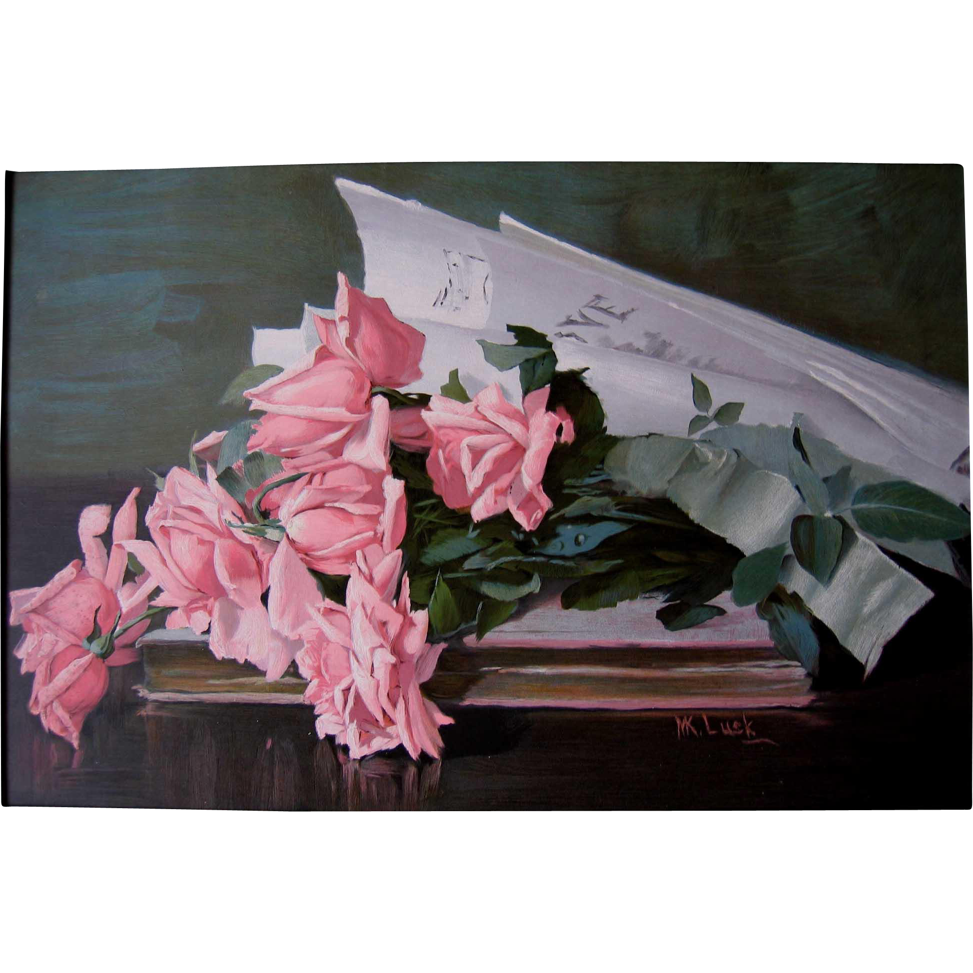 Antique Roses Print Marie Koupal Lusk Victorian Chromolithograph Sheet Music Love