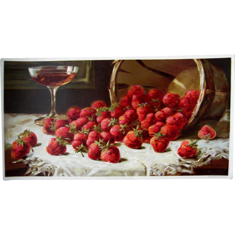 Strawberry Champagne Antique Fruit Print Morgan Half Yard Long Victorian Chromolithograph
