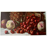 Victorian Fruit Print Morgan Half Yard Long Chromolithograph Victorian