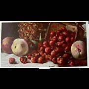 Victorian Fruit Print Morgan Half Yard Long Chromolithograph Victorian