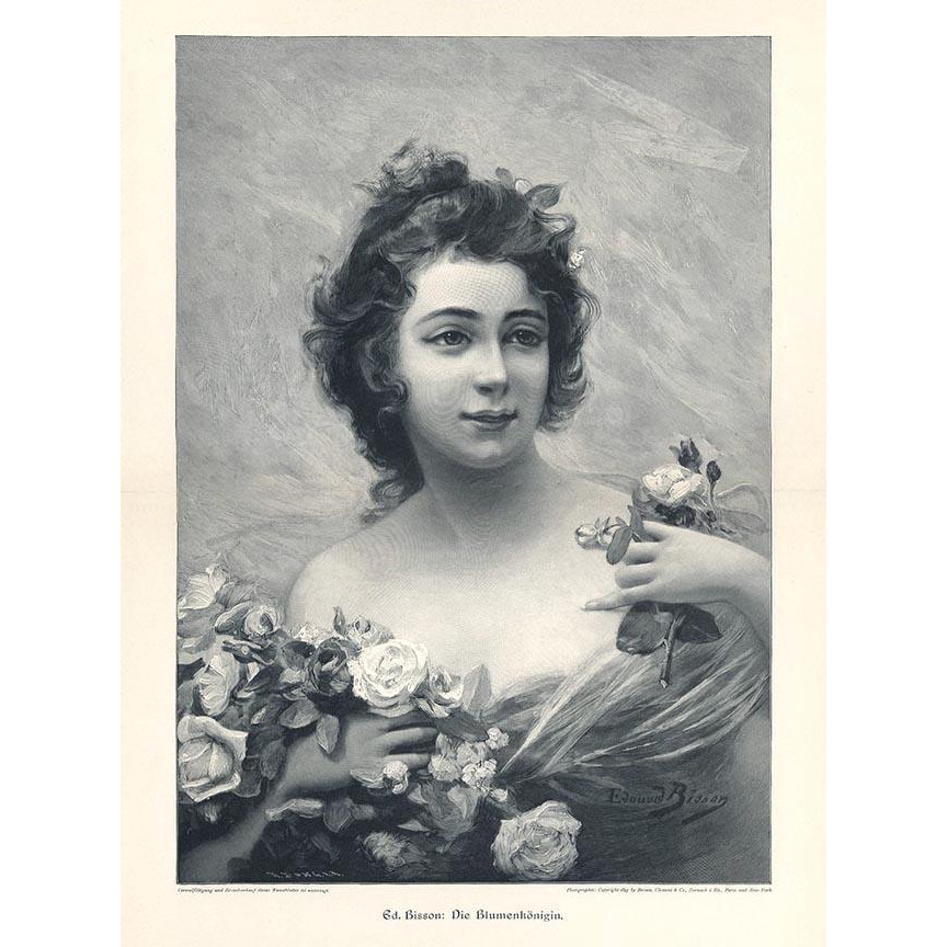 c1880 Lady Print Edouard Bisson The Flower Queen Wood Engraving Roses