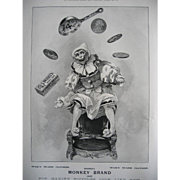Antique Monkey Soap Print c1897 Juggler Circus Illustrated London News Anthropomorphic