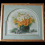 Autographed Paul de Longpre Chromo Poppies Print Listed Artist Signed Fountain Pen Signature Antique Victorian Chromolithograph