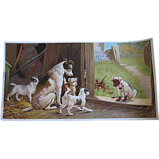 Antique Dog Puppy Print c1890s Chromolithograph Victorian A Disgrace to the Family Half Yard Long