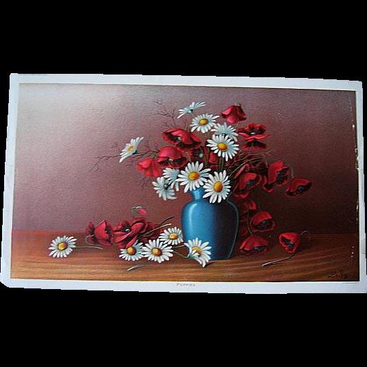 Antique Le Roy Poppies Print Half Yard Long Victorian