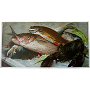 Antique Fish Lobster Print Kings of the Deep Kitchen Art Decor