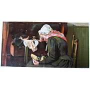 Antique Grandmother Deceased Child Print Tender Memories Half Yard Long Victorian Chromolithograph