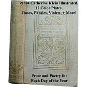 c1894 Catherine Klein Illustrated The Year Book of American Authors Ida Scott Taylor Language Poetry of Flowers 12 Flower Chromolithograph Print s Roses Pansies Violets Lilacs Daffodils Apple Blossoms