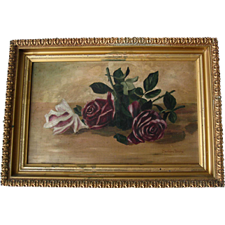 Roses Painting Antique Victorian Oil on Canvas Period Frame Half Yard Long