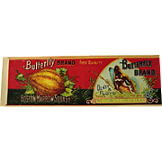 Butterfly Squash Can Label Print Olney Floyd Mint Chromo Antique