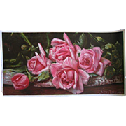 Antique Roses Print Harry Roseland Chromolithograph Half Yard Long Rose