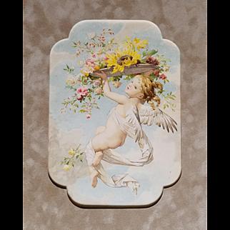 Antique Cupid Print Roses Love With Blossoms Sturm c1890s Victorian Fairy Cherub