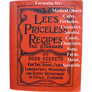 Lees Priceless Recipes Book Cook Book Cosmetics Perfume Coffee Chocolate Animal Household Scientific Formulations