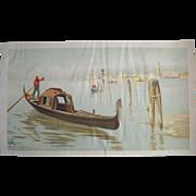 c1893 Venice Water Print Boat Gondola Half Yard Long Chromolithograph