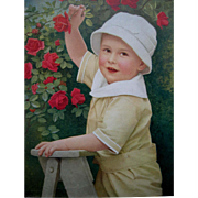 Little Boy and Roses Print A Surprise for Mother c1917 Antique